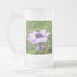 One Delicate Pale Lilac Anemone  Wild Flower Frosted Glass Beer Mug