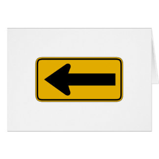 One Direction Arrow Left, Traffic Warning Sign, US Card