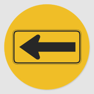 One Direction Arrow Left, Traffic Warning Sign, US Classic Round Sticker