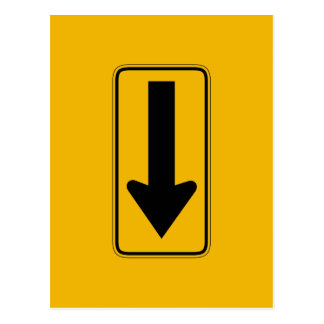 One Direction Arrow Left, Traffic Warning Sign, US Postcard