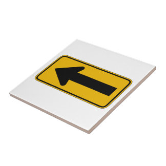 One Direction Arrow Left, Traffic Warning Sign, US Tile