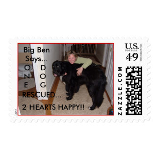 ONE DOG RESCUED...2 HEARTS HAPPY!! STAMPS