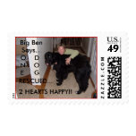 ONE DOG RESCUED...2 HEARTS HAPPY!! POSTAGE STAMP