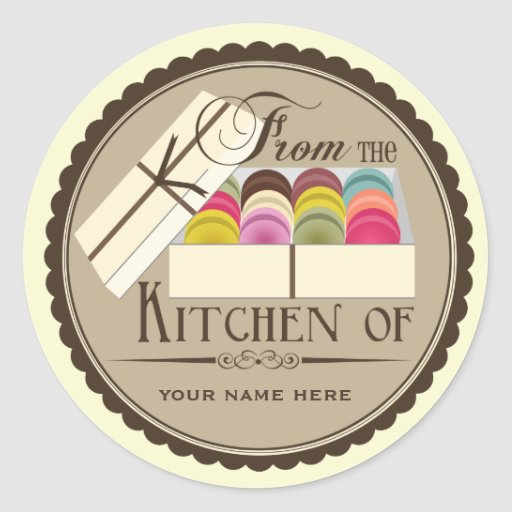 """One Dozen French Macarons """"From The Kitchen Of"""" Classic Round Sticker"""