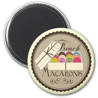 One Dozen French Macarons in a Gift Box 2 Inch Round Magnet