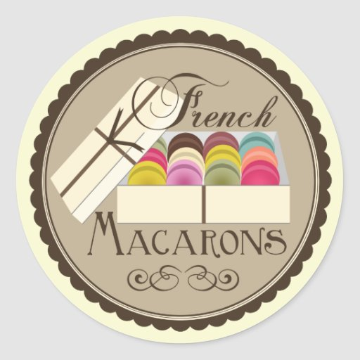 One Dozen French Macarons In A Gift Box Classic Round Sticker
