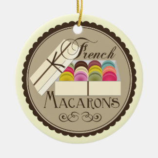 One Dozen French Macarons In A Gift Box Double-Sided Ceramic Round Christmas Ornament
