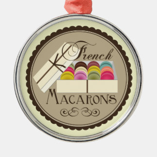 One Dozen French Macarons In A Gift Box Round Metal Christmas Ornament