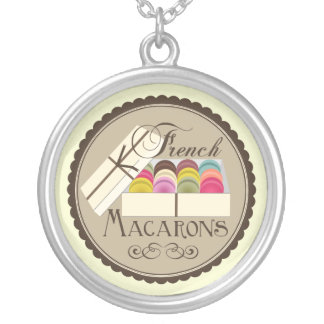 One Dozen French Macarons In a Gift Box Round Pendant Necklace
