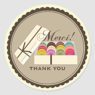 One Dozen French Macarons Merci Thank You Classic Round Sticker
