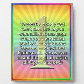 ONE  Ephesians 4:4-6 BIBLE SCRIPTURE Plaque