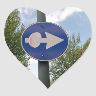 One euro one way heart sticker