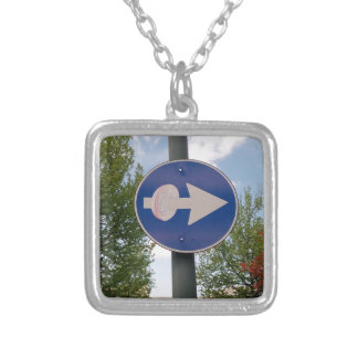 One euro one way silver plated necklace