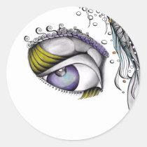 artsprojekt, illustration, sticker, design, modern, eye, look, see, watch, watching, woman, portrait, girl, female, lady, art, drawing, pencil, Sticker with custom graphic design