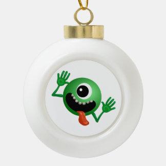 One eye monster cartoon ceramic ball christmas ornament