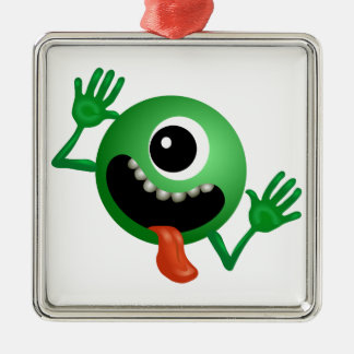 One eye monster cartoon square metal christmas ornament