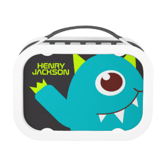 One eyed alien monster teal green kids name lunch box