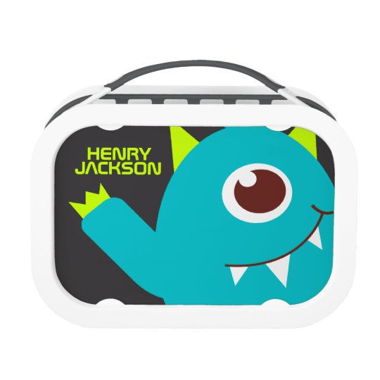 One eyed alien monster teal green kids name lunch box