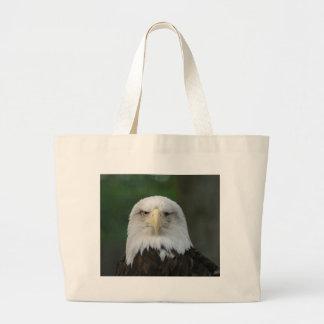 One-Eyed American Bald Eagle Large Tote Bag