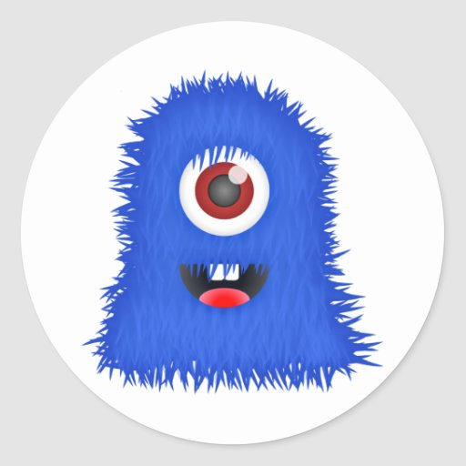 One eyed blue monster stickers