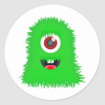 One eyed green monster round stickers