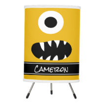 One Eyed Monster Face Yellow Kids Personalized Tripod Lamp