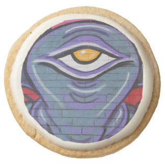 One-Eyed Monster, New York City Graffiti Round Shortbread Cookie