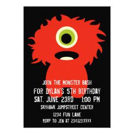 One Eyed Orange Monster Birthday Party Invitations
