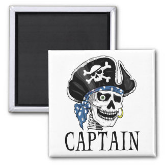 One-eyed Pirate Captain 2 Inch Square Magnet