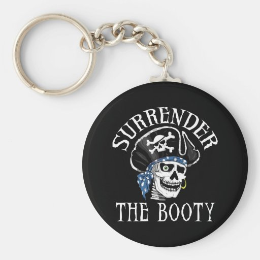 One-eyed Pirate Skull and Crossbones Basic Round Button Keychain