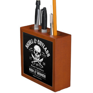 One Eyed Pirate Skull and Crossed Swords Pencil Holder