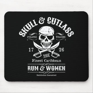 One Eyed Pirate Skull and Crossed Swords Mousepad