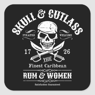 One Eyed Pirate Skull and Cutlasses Sticker