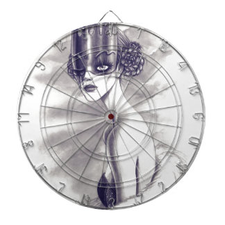 One eyed queen dartboard with darts