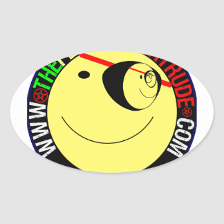 ONE EYED SMILEY OVAL STICKER