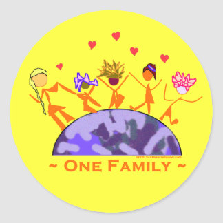 One Family - Earth Classic Round Sticker