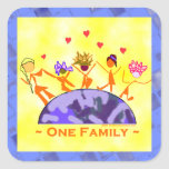 One Family - Earth Square Sticker