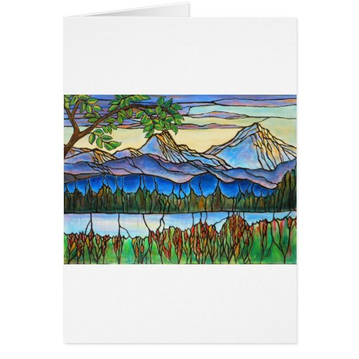 """One Fine Day"" Stained Glass Landscape Art! Card"