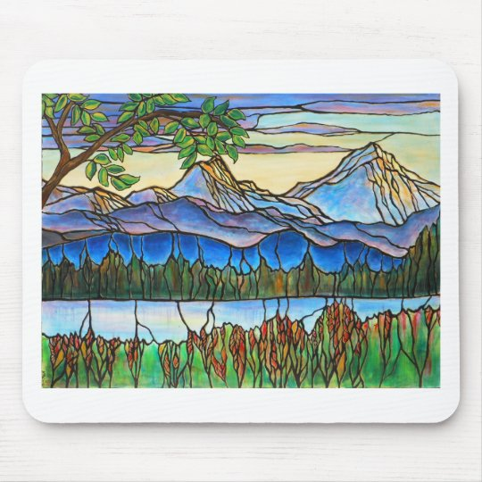 """""""One Fine Day"""" Stained Glass Landscape Art! Mouse Pad"""