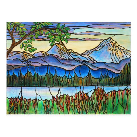 Quot One Fine Day Quot Stained Glass Landscape Art Postcard