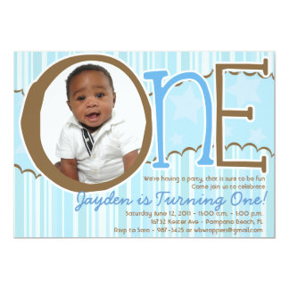ONE - First Birthday invite for Boys