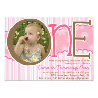 ONE - First Birthday invite for Girls