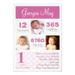 One first year Baby Girl First Birthday Card