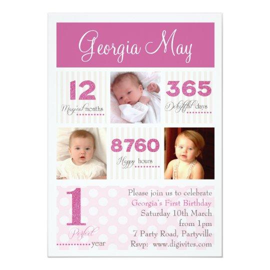 One First Year Baby Girl First Birthday Invitation Zazzle