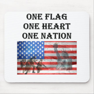 one flag one heart one nation USA Veterans Day Mouse Pad