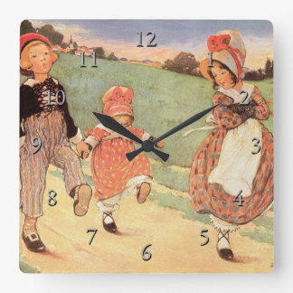 One Foot Up, One Foot Down Nursery Rhyme Square Wall Clock