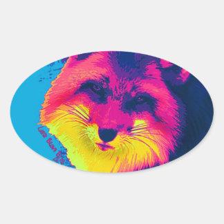 One fox original Native American Artwork Oval Sticker