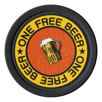 ONE FREE BEER custom bar / pub drink chips Poker Chips