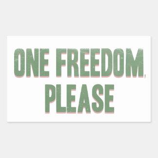 One freedom please - sarcastic rebel tee rectangular sticker
