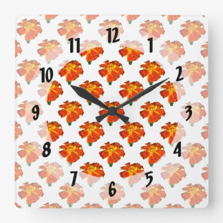 One French Marigold Square Wall Clock